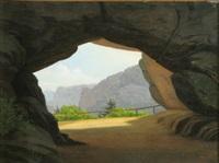 udsigt fra en grotte mod bjerg[ ]massiv by wilhelm pacht